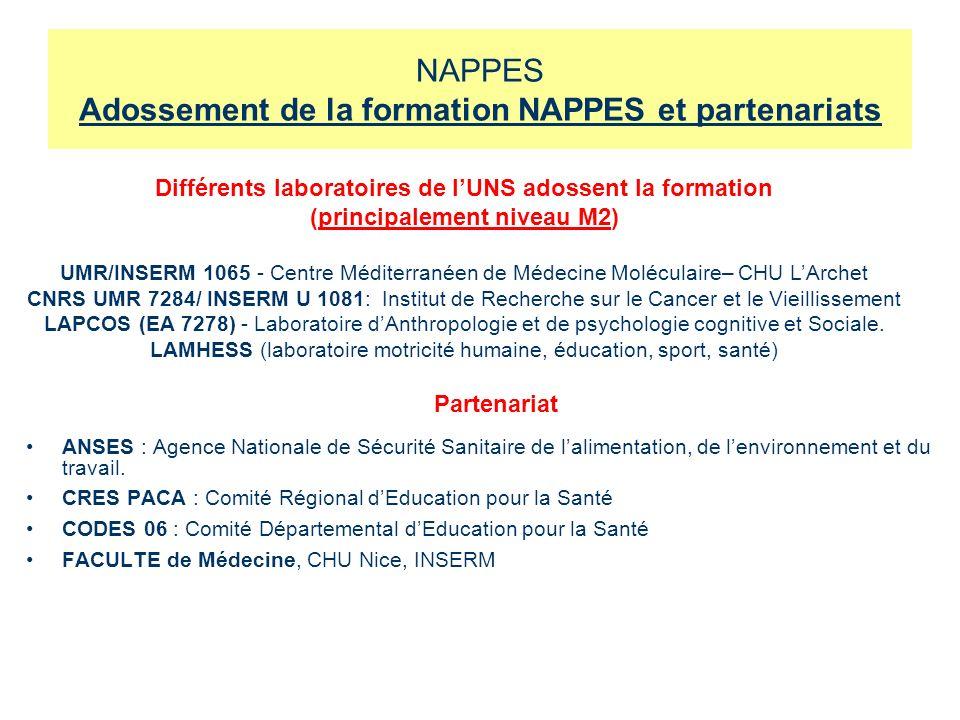 NAPPES Adossement de la formation NAPPES et partenariats ANSES : Agence Nationale de Sécurité Sanitaire de lalimentation, de lenvironnement et du travail.