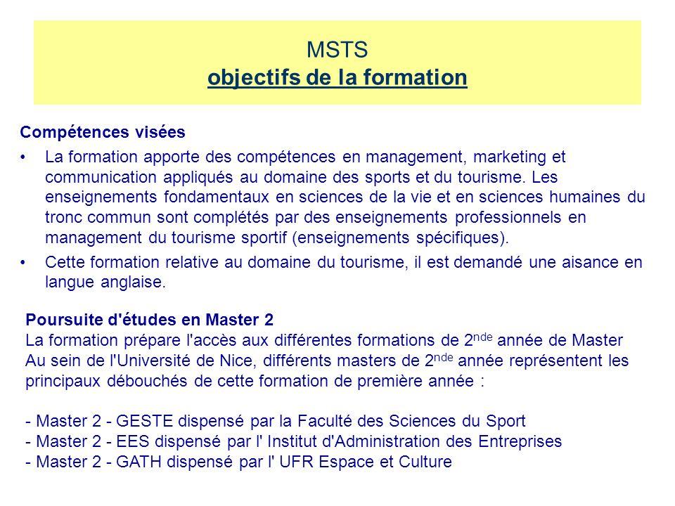 MSTS objectifs de la formation Compétences visées La formation apporte des compétences en management, marketing et communication appliqués au domaine