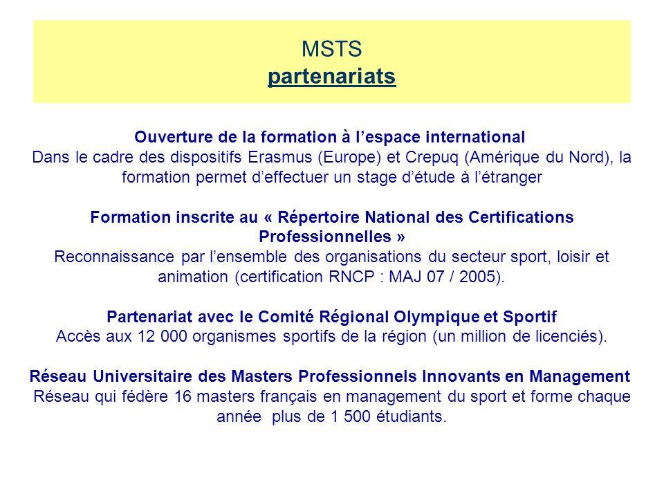 MSTS partenariats Ouverture de la formation à lespace international Dans le cadre des dispositifs Erasmus (Europe) et Crepuq (Amérique du Nord), la fo