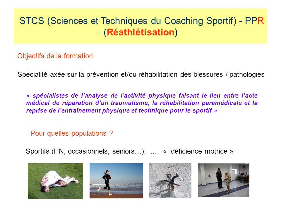 STCS (Sciences et Techniques du Coaching Sportif) - PPR (Réathlétisation) Objectifs de la formation Spécialité axée sur la prévention et/ou réhabilitation des blessures / pathologies Pour quelles populations .