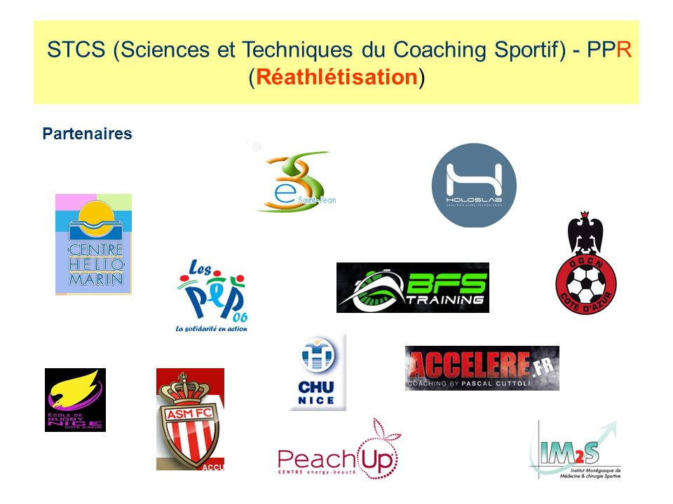 Partenaires STCS (Sciences et Techniques du Coaching Sportif) - PPR (Réathlétisation)
