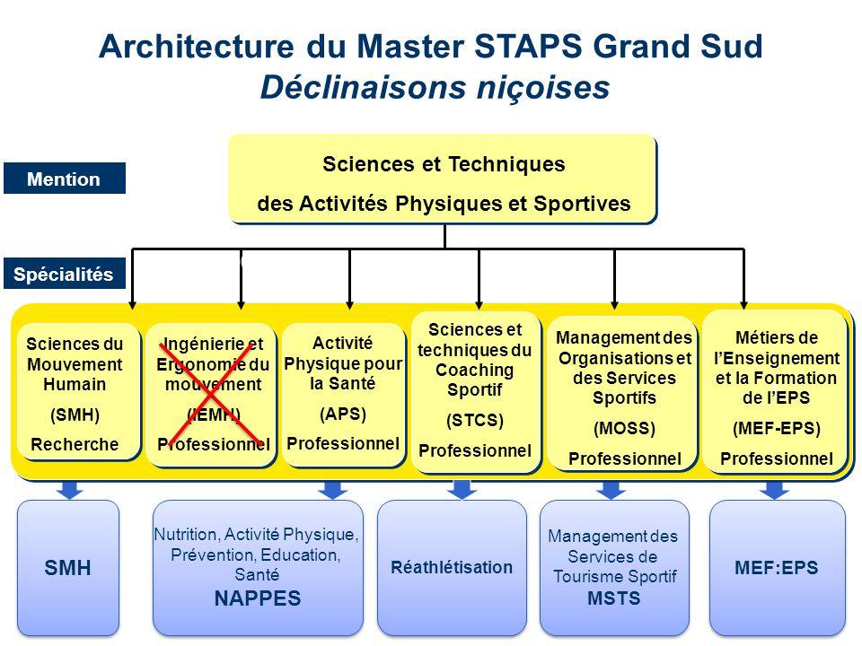 Architecture du Master STAPS Grand Sud Déclinaisons niçoises Management des Services de Tourisme Sportif MSTS Management des Services de Tourisme Spor