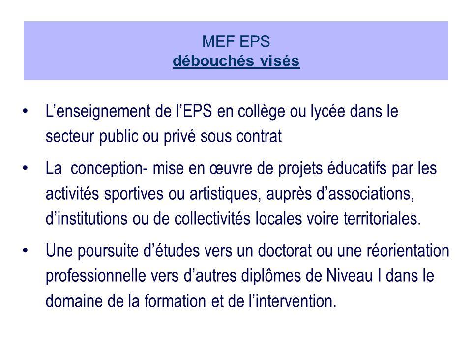 MEF EPS débouchés visés Lenseignement de lEPS en collège ou lycée dans le secteur public ou privé sous contrat La conception- mise en œuvre de projets éducatifs par les activités sportives ou artistiques, auprès dassociations, dinstitutions ou de collectivités locales voire territoriales.
