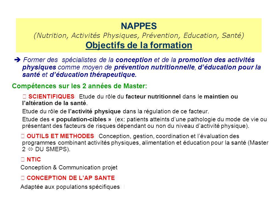 NAPPES (Nutrition, Activités Physiques, Prévention, Education, Santé) Objectifs de la formation Former des spécialistes de la conception et de la promotion des activités physiques comme moyen de prévention nutritionnelle, déducation pour la santé et déducation thérapeutique.