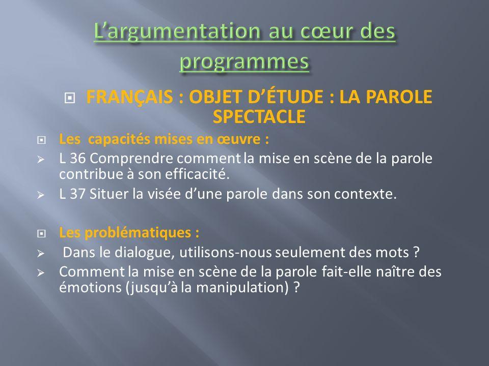 FRANÇAIS : OBJET DÉTUDE : LA PAROLE SPECTACLE Les capacités mises en œuvre : L 36 Comprendre comment la mise en scène de la parole contribue à son efficacité.