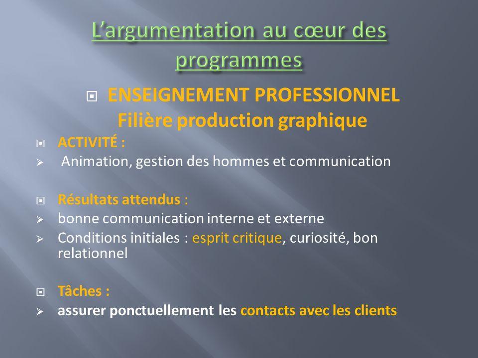 ENSEIGNEMENT PROFESSIONNEL Filière production graphique ACTIVITÉ : Animation, gestion des hommes et communication Résultats attendus : bonne communica