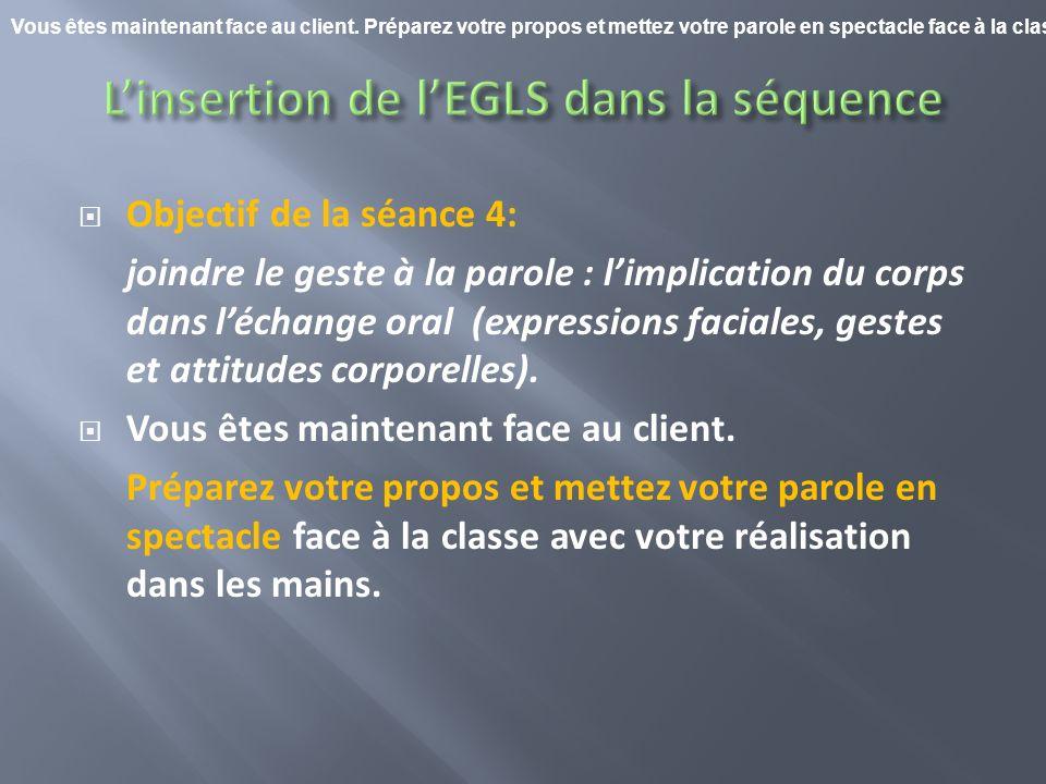 Objectif de la séance 4: joindre le geste à la parole : limplication du corps dans léchange oral (expressions faciales, gestes et attitudes corporelle