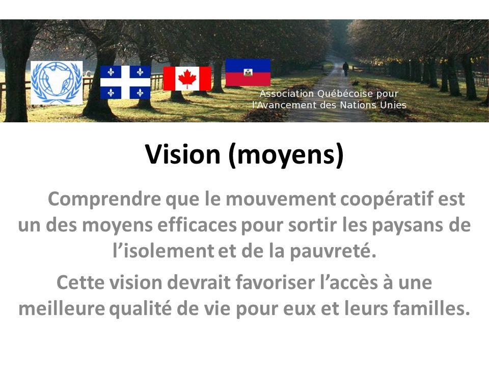 Vision (moyens) Comprendre que le mouvement coopératif est un des moyens efficaces pour sortir les paysans de lisolement et de la pauvreté. Cette visi