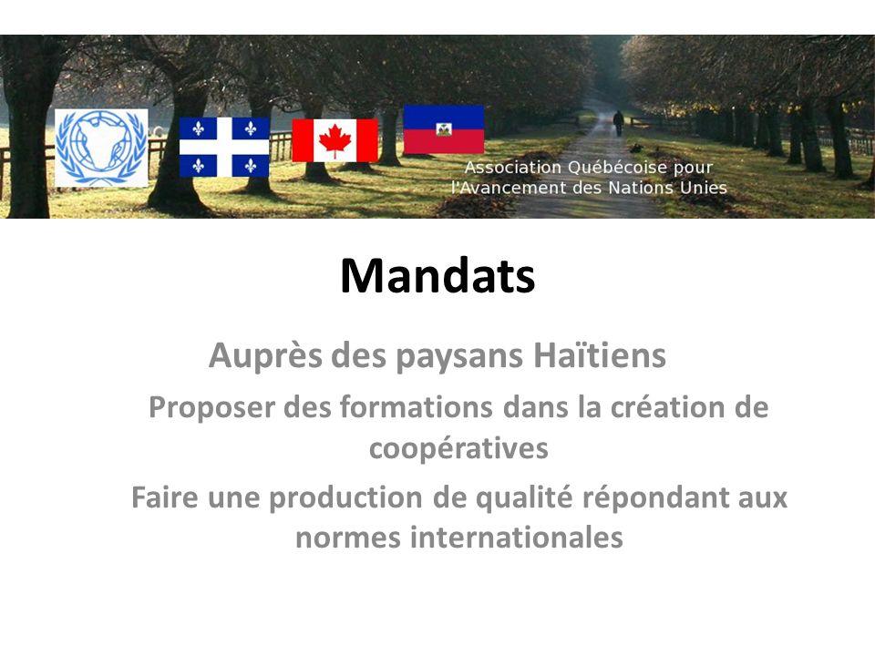 Mandats Auprès des paysans Haïtiens Proposer des formations dans la création de coopératives Faire une production de qualité répondant aux normes internationales