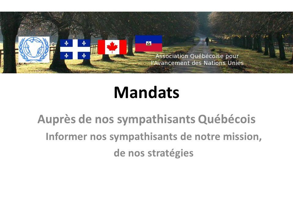 Mandats Auprès de nos sympathisants Québécois Informer nos sympathisants de notre mission, de nos stratégies