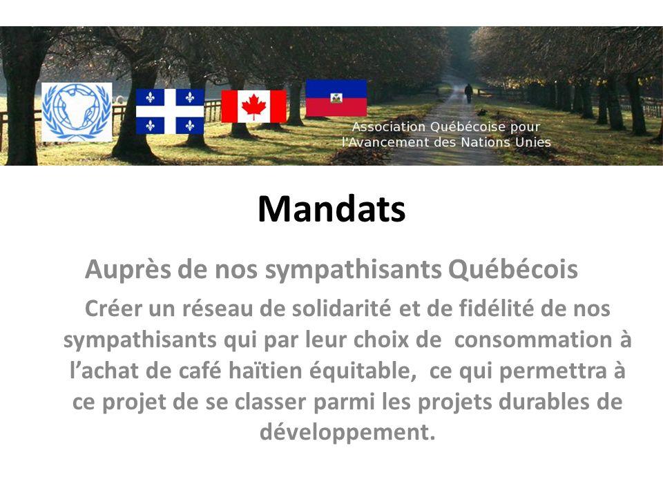 Mandats Auprès de nos sympathisants Québécois Créer un réseau de solidarité et de fidélité de nos sympathisants qui par leur choix de consommation à lachat de café haïtien équitable, ce qui permettra à ce projet de se classer parmi les projets durables de développement.