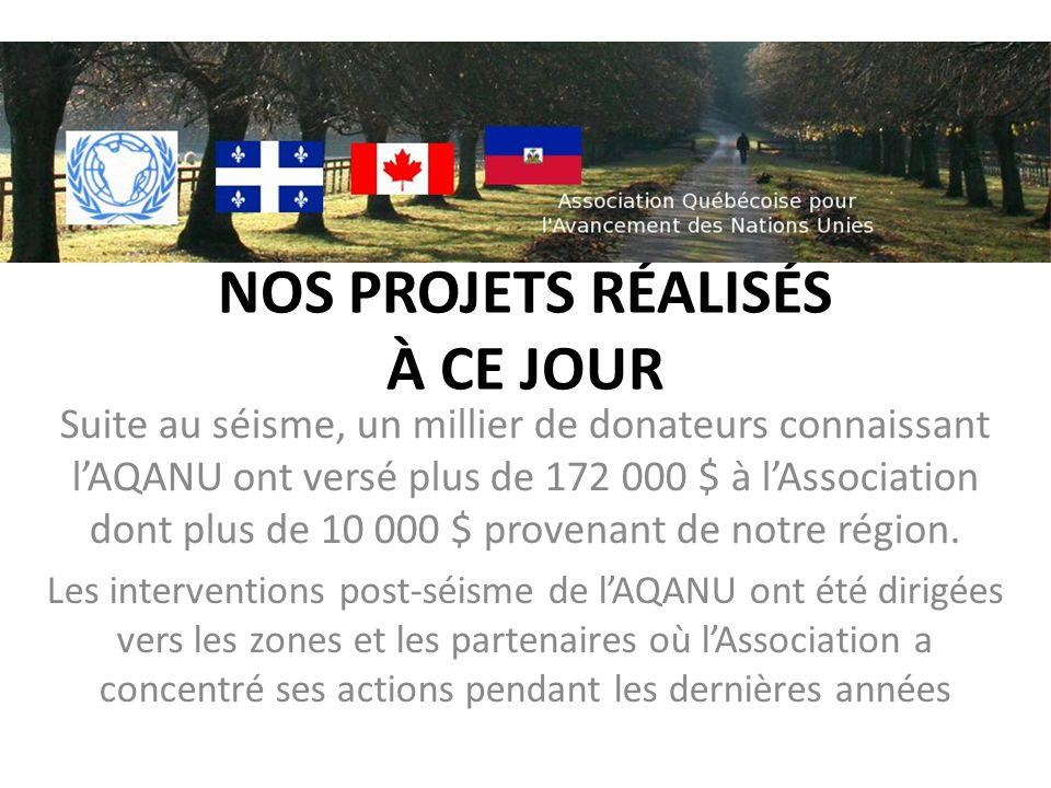 NOS PROJETS RÉALISÉS À CE JOUR Suite au séisme, un millier de donateurs connaissant lAQANU ont versé plus de 172 000 $ à lAssociation dont plus de 10 000 $ provenant de notre région.