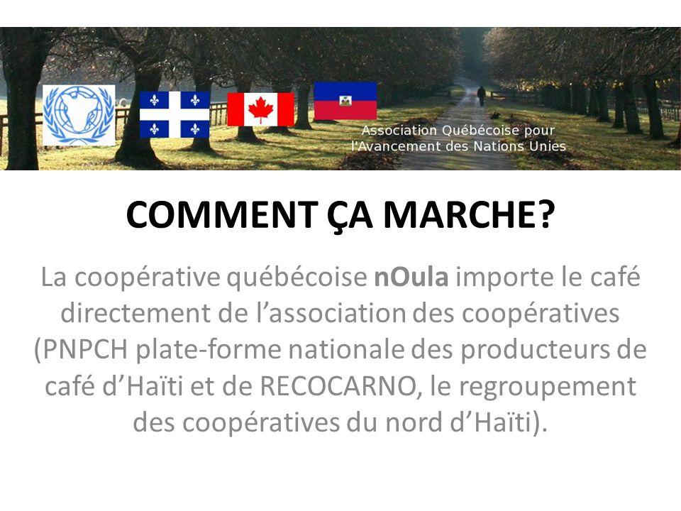 COMMENT ÇA MARCHE? La coopérative québécoise nOula importe le café directement de lassociation des coopératives (PNPCH plate-forme nationale des produ