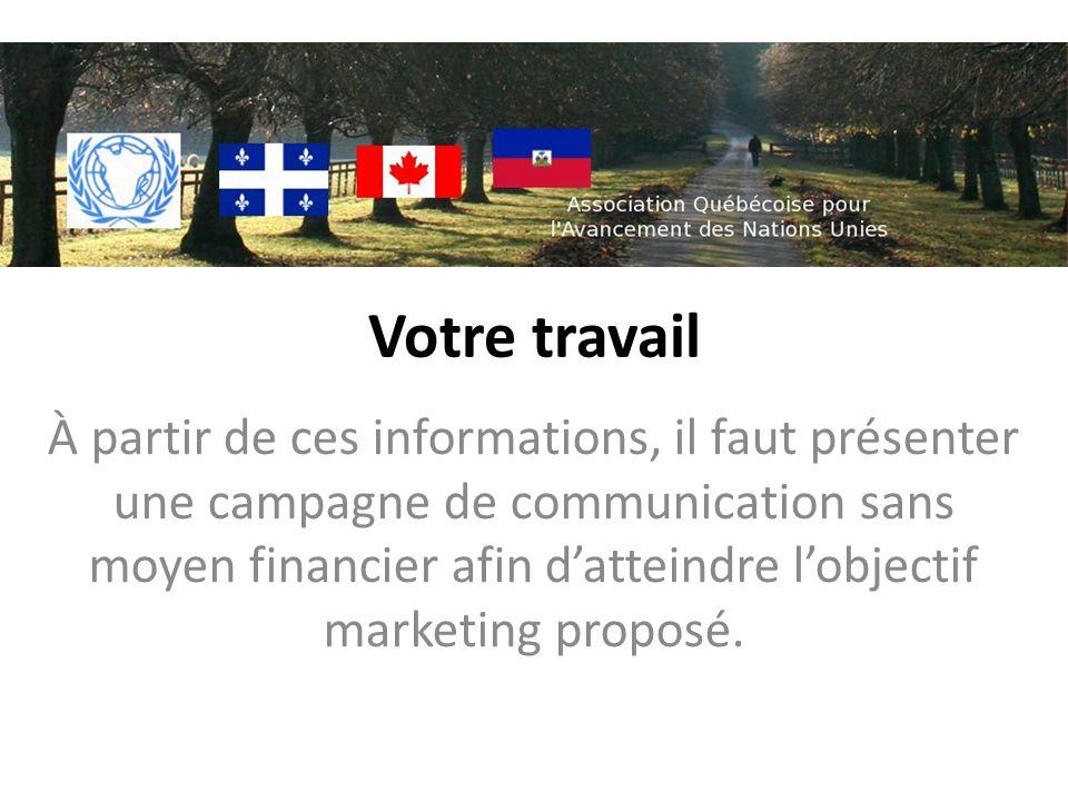 Votre travail À partir de ces informations, il faut présenter une campagne de communication sans moyen financier afin datteindre lobjectif marketing proposé.