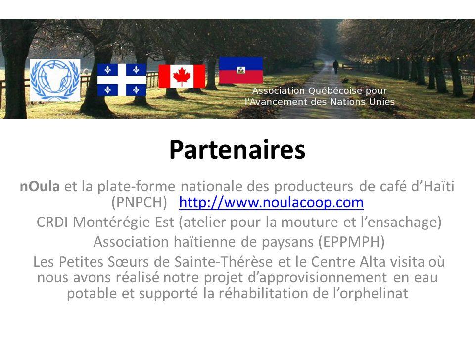 Partenaires nOula et la plate-forme nationale des producteurs de café dHaïti (PNPCH) http://www.noulacoop.comhttp://www.noulacoop.com CRDI Montérégie Est (atelier pour la mouture et lensachage) Association haïtienne de paysans (EPPMPH) Les Petites Sœurs de Sainte-Thérèse et le Centre Alta visita où nous avons réalisé notre projet dapprovisionnement en eau potable et supporté la réhabilitation de lorphelinat