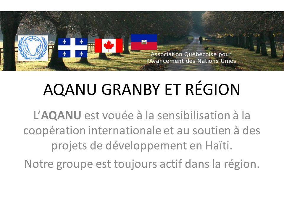 AQANU GRANBY ET RÉGION LAQANU est vouée à la sensibilisation à la coopération internationale et au soutien à des projets de développement en Haïti. No