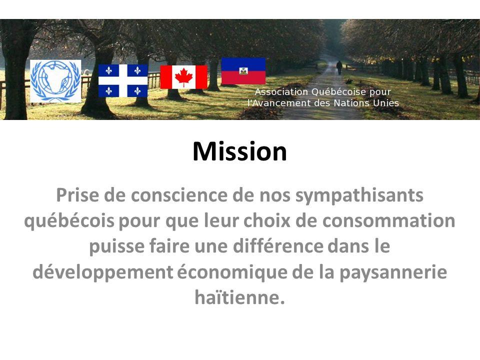 Mission Prise de conscience de nos sympathisants québécois pour que leur choix de consommation puisse faire une différence dans le développement économique de la paysannerie haïtienne.