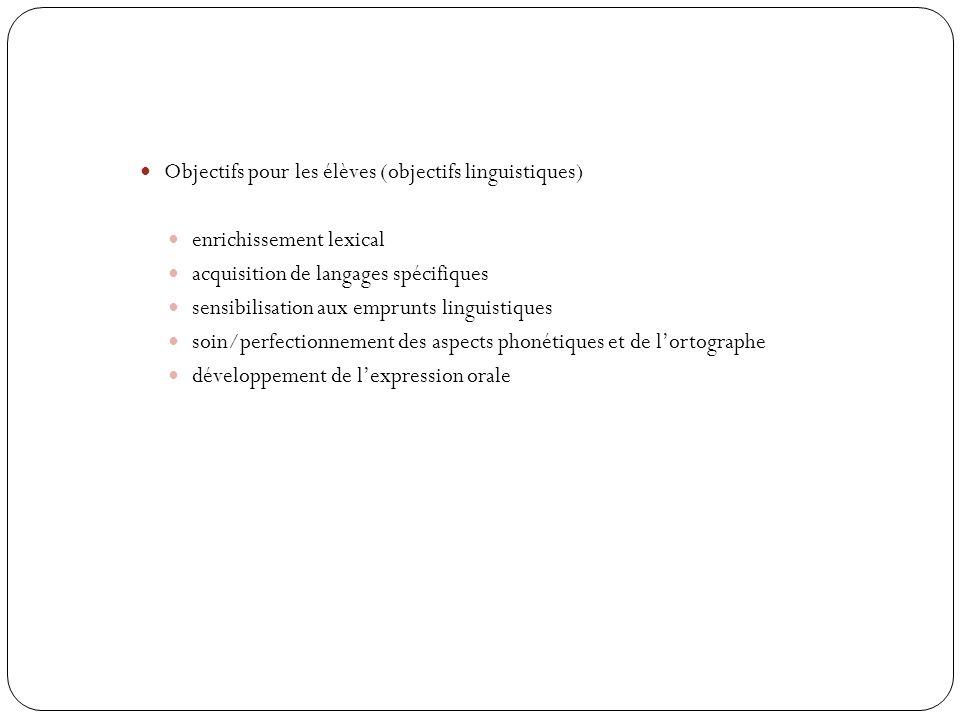 Objectifs pour les élèves (objectifs linguistiques) enrichissement lexical acquisition de langages spécifiques sensibilisation aux emprunts linguistiques soin/perfectionnement des aspects phonétiques et de lortographe développement de lexpression orale