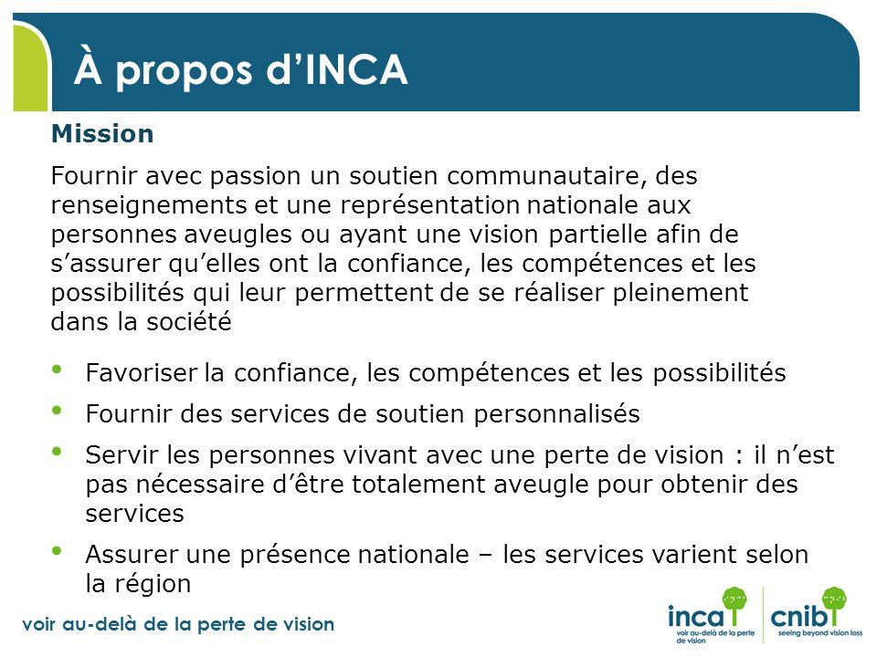 voir au-delà de la perte de vision À propos dINCA Mission Fournir avec passion un soutien communautaire, des renseignements et une représentation nati