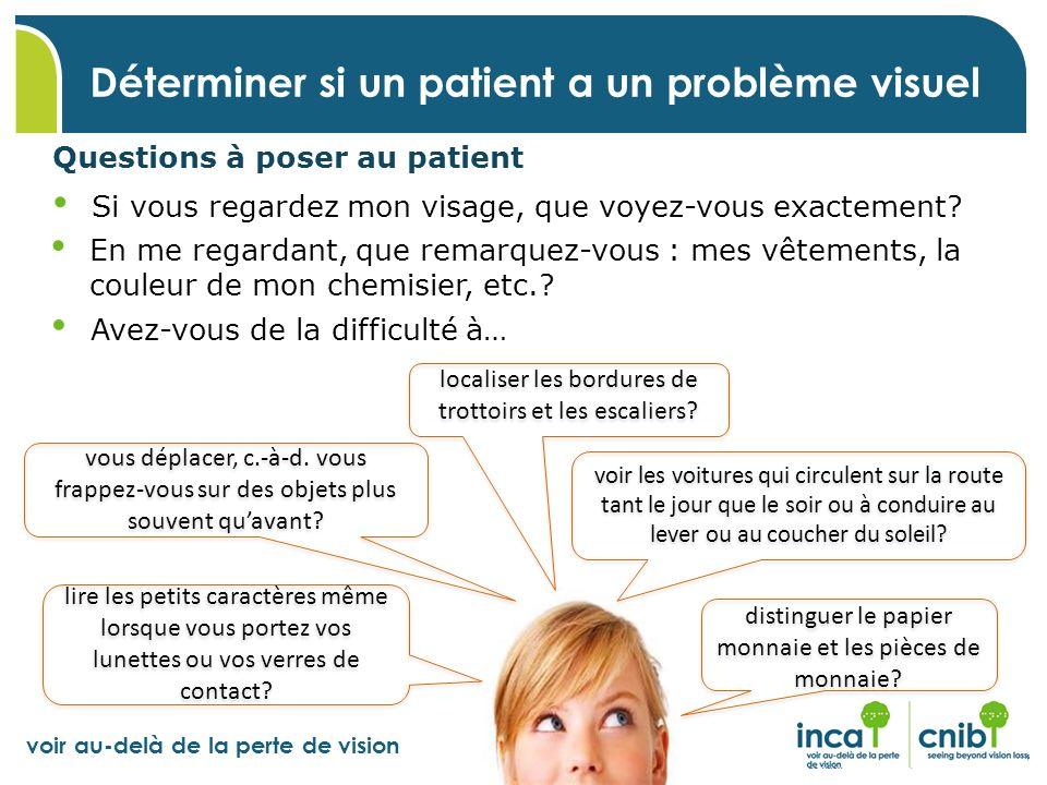 voir au-delà de la perte de vision Questions à poser au patient Déterminer si un patient a un problème visuel Si vous regardez mon visage, que voyez-v