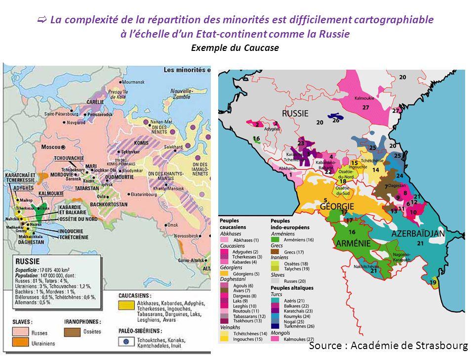 La complexité de la répartition des minorités est difficilement cartographiable à léchelle dun Etat-continent comme la Russie Exemple du Caucase Source : Académie de Strasbourg