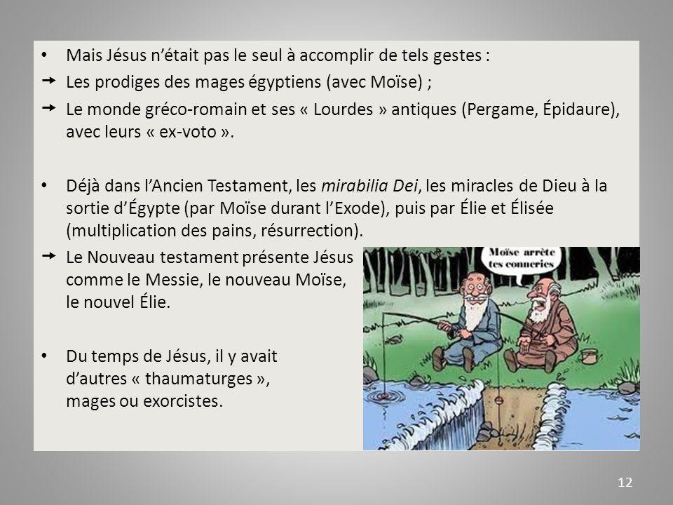 Mais Jésus nétait pas le seul à accomplir de tels gestes : Les prodiges des mages égyptiens (avec Moïse) ; Le monde gréco-romain et ses « Lourdes » antiques (Pergame, Épidaure), avec leurs « ex-voto ».