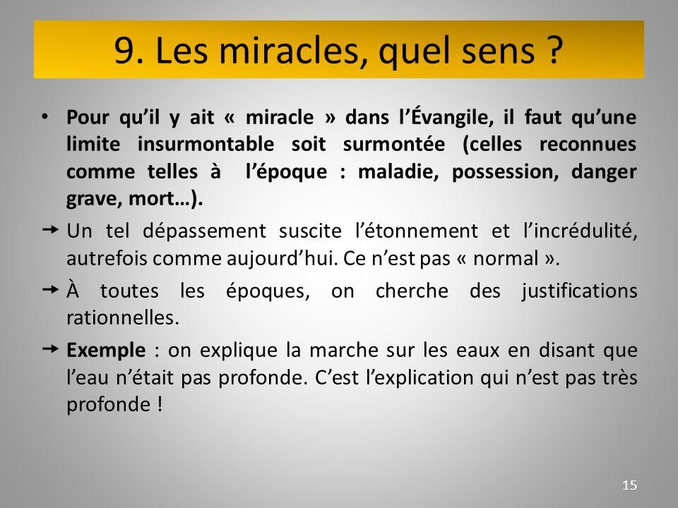 9. Les miracles, quel sens .