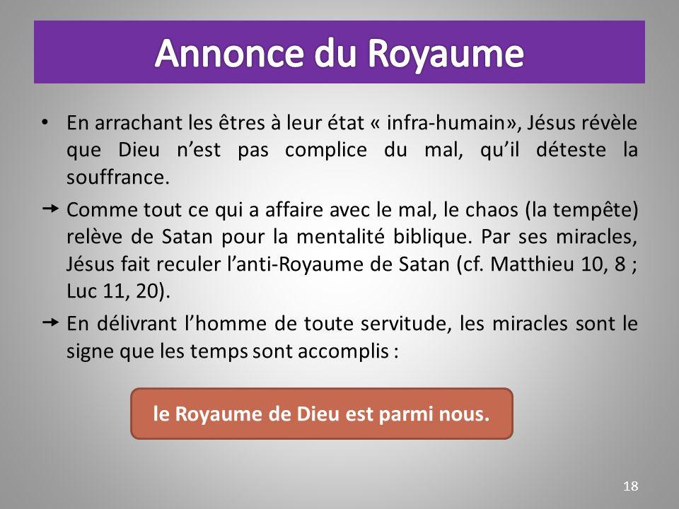 En arrachant les êtres à leur état « infra-humain», Jésus révèle que Dieu nest pas complice du mal, quil déteste la souffrance.