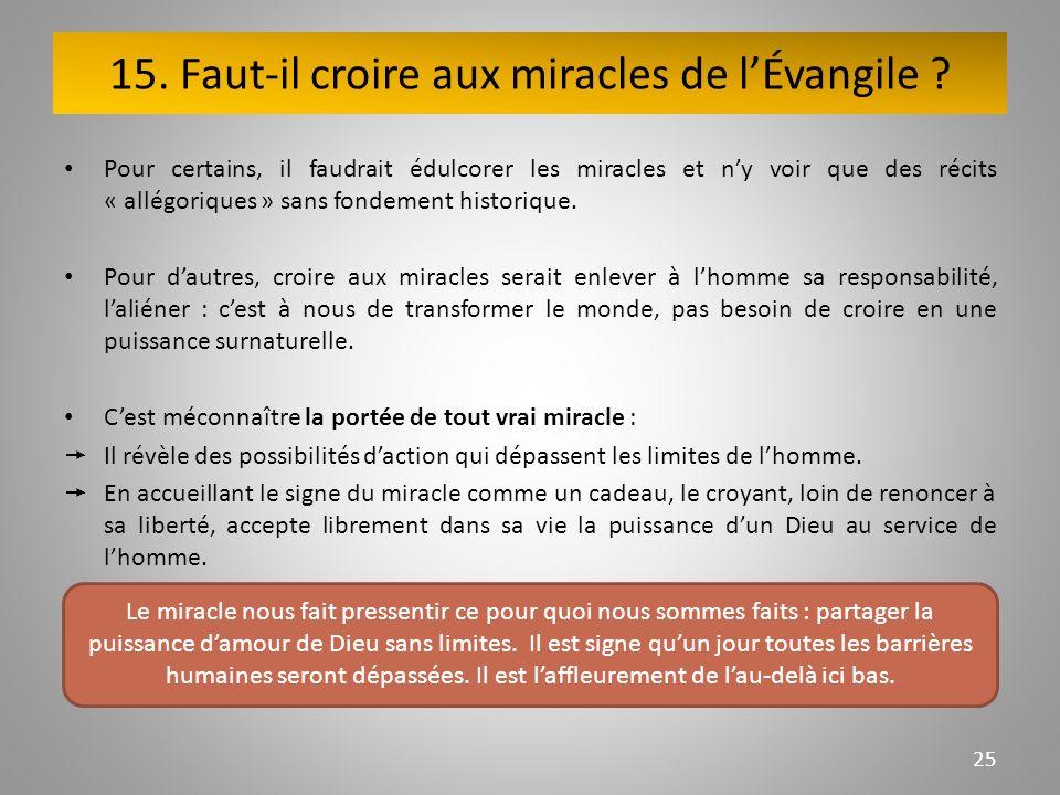 15. Faut-il croire aux miracles de lÉvangile .