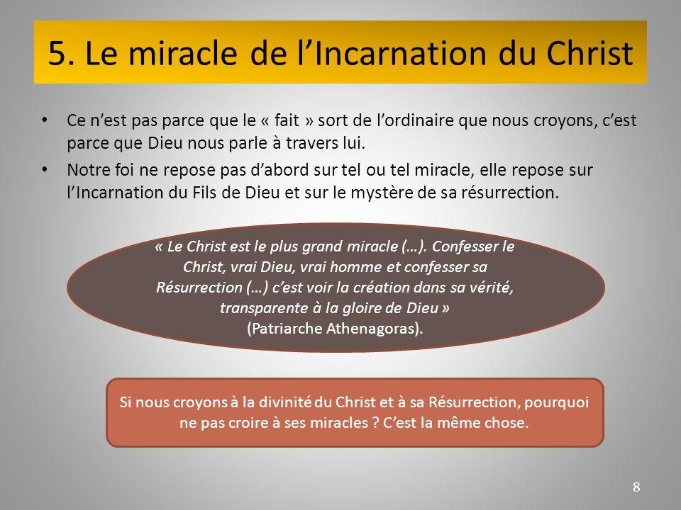 5. Le miracle de lIncarnation du Christ Ce nest pas parce que le « fait » sort de lordinaire que nous croyons, cest parce que Dieu nous parle à traver