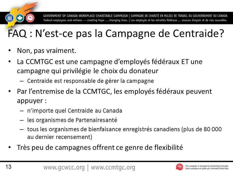 FAQ : Nest-ce pas la Campagne de Centraide. Non, pas vraiment.
