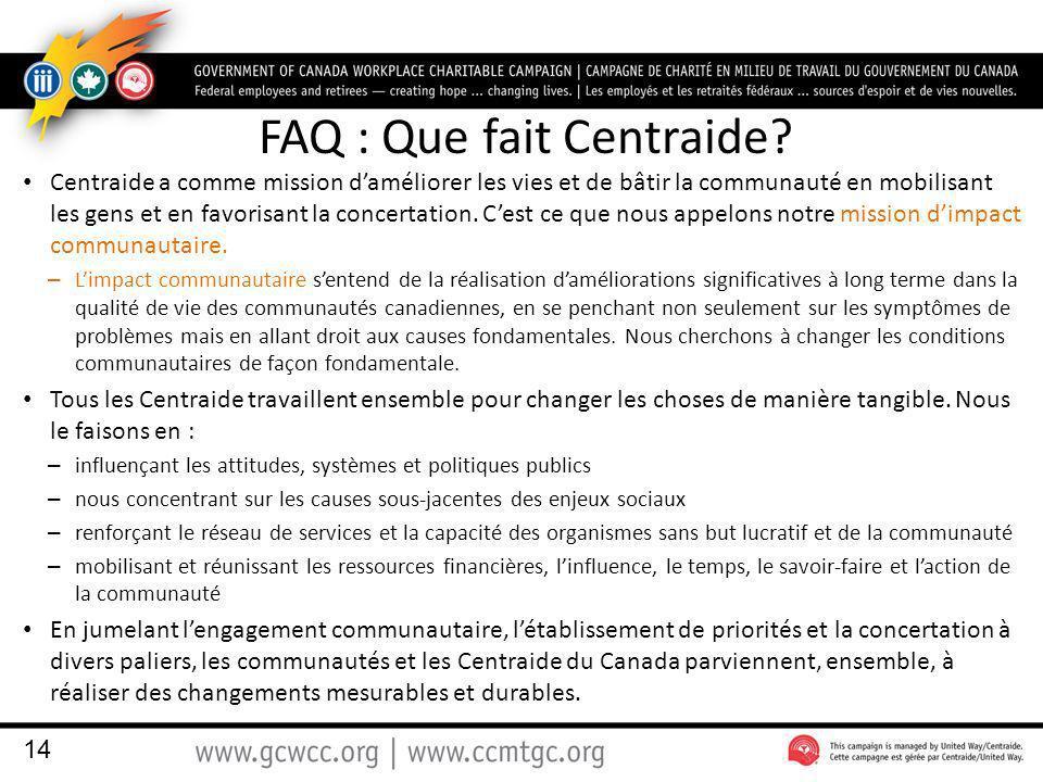 FAQ : Que fait Centraide.