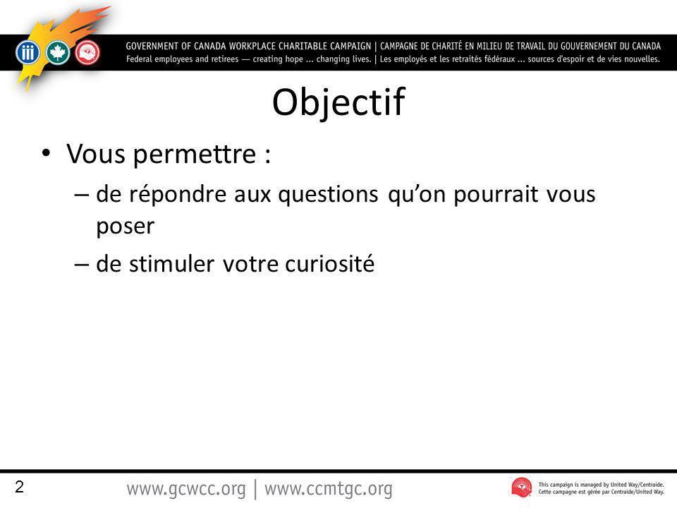 Objectif Vous permettre : – de répondre aux questions quon pourrait vous poser – de stimuler votre curiosité 2