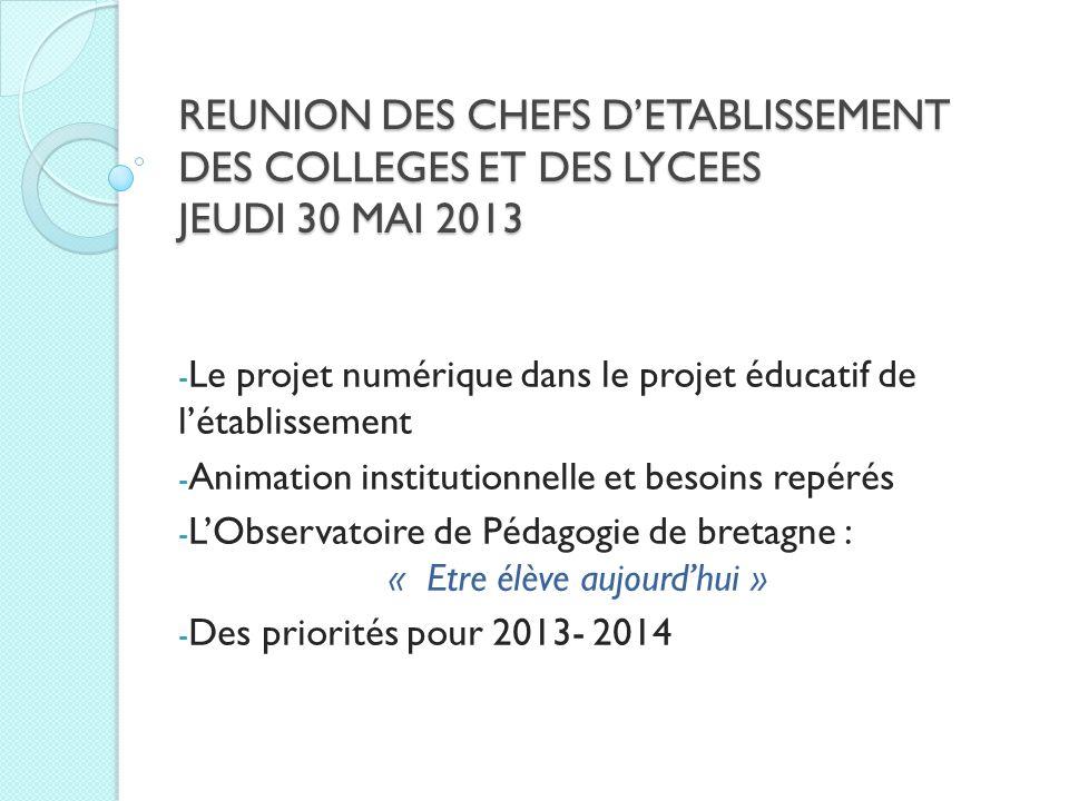 REUNION DES CHEFS DETABLISSEMENT DES COLLEGES ET DES LYCEES JEUDI 30 MAI 2013 - Le projet numérique dans le projet éducatif de létablissement - Animat