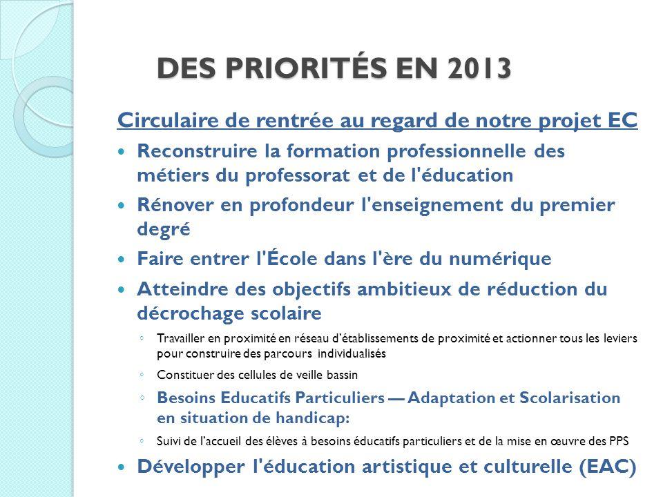 DES PRIORITÉS EN 2013 Circulaire de rentrée au regard de notre projet EC Reconstruire la formation professionnelle des métiers du professorat et de l'