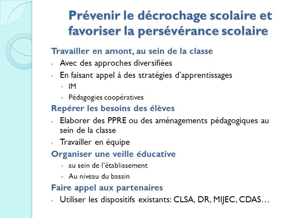 Prévenir le décrochage scolaire et favoriser la persévérance scolaire Travailler en amont, au sein de la classe - Avec des approches diversifiées - En