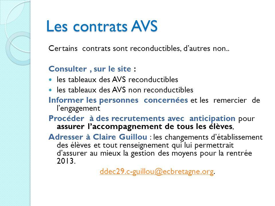 Les contrats AVS Certains contrats sont reconductibles, dautres non.. Consulter, sur le site : les tableaux des AVS reconductibles les tableaux des AV