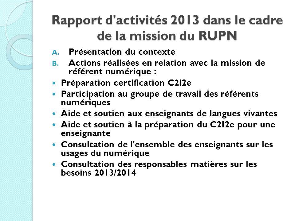 Rapport d'activités 2013 dans le cadre de la mission du RUPN A. Présentation du contexte B. Actions réalisées en relation avec la mission de référent