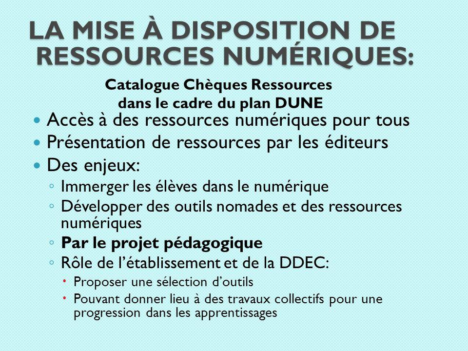 LA MISE À DISPOSITION DE RESSOURCES NUMÉRIQUES: Catalogue Chèques Ressources dans le cadre du plan DUNE Accès à des ressources numériques pour tous Pr