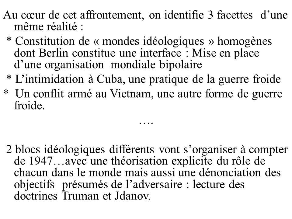 Au cœur de cet affrontement, on identifie 3 facettes dune même réalité : * Constitution de « mondes idéologiques » homogènes dont Berlin constitue une