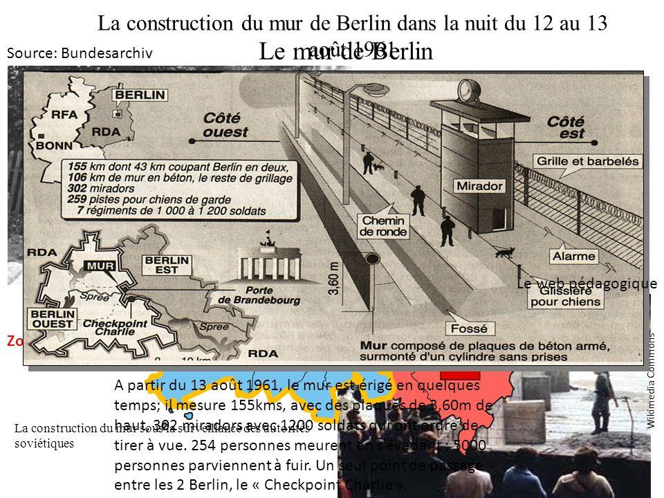 La construction du mur de Berlin dans la nuit du 12 au 13 août 1961 Des badauds constatent lérection du mur le 13 août 1961 La construction du mur sou