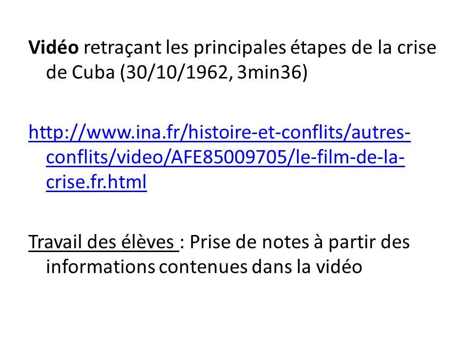 Vidéo retraçant les principales étapes de la crise de Cuba (30/10/1962, 3min36) http://www.ina.fr/histoire-et-conflits/autres- conflits/video/AFE85009