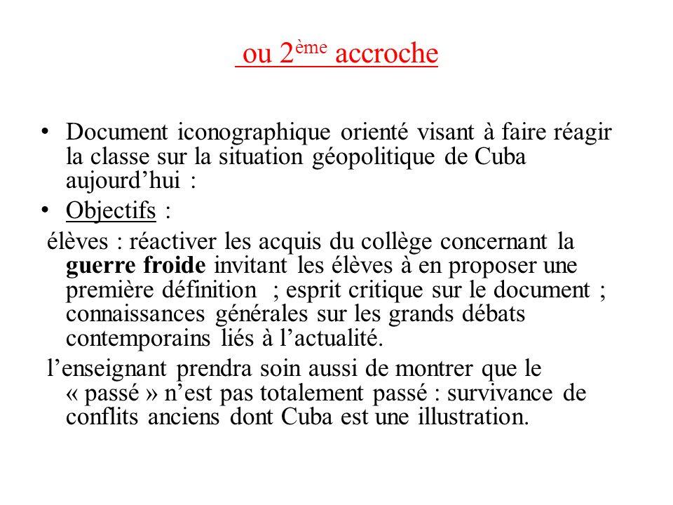 ou 2 ème accroche Document iconographique orienté visant à faire réagir la classe sur la situation géopolitique de Cuba aujourdhui : Objectifs : élève