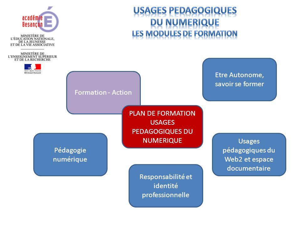 Formation - Action PLAN DE FORMATION USAGES PEDAGOGIQUES DU NUMERIQUE Etre Autonome, savoir se former Usages pédagogiques du Web2 et espace documentaire Responsabilité et identité professionnelle Pédagogie numérique