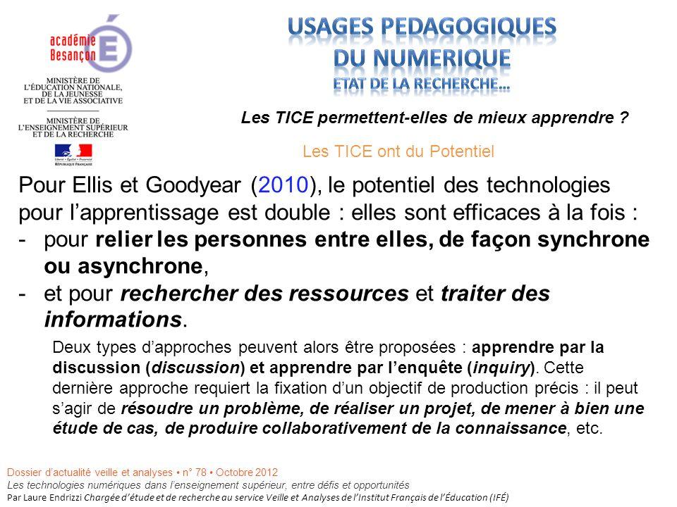 Pour Ellis et Goodyear (2010), le potentiel des technologies pour lapprentissage est double : elles sont efficaces à la fois : -pour relier les personnes entre elles, de façon synchrone ou asynchrone, -et pour rechercher des ressources et traiter des informations.