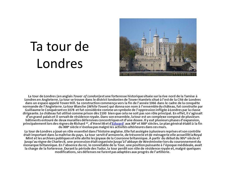 Ta tour de Londres La tour de Londres (en anglais Tower of London)est une forteresse historique située sur la rive nord de la Tamise à Londres en Angl