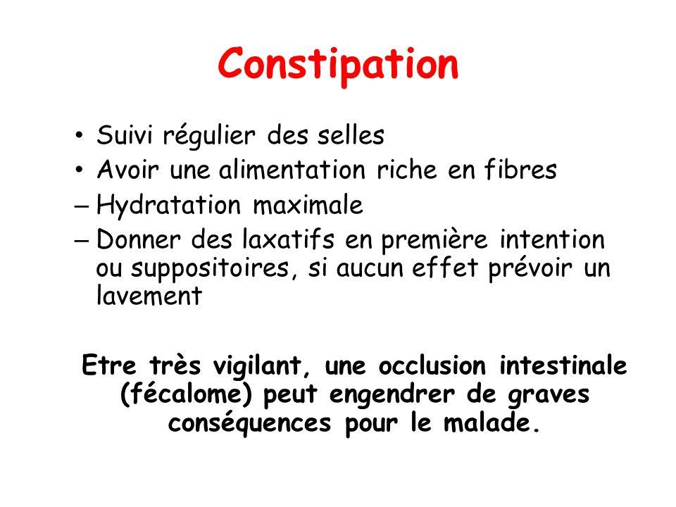 Constipation Suivi régulier des selles Avoir une alimentation riche en fibres – Hydratation maximale – Donner des laxatifs en première intention ou su
