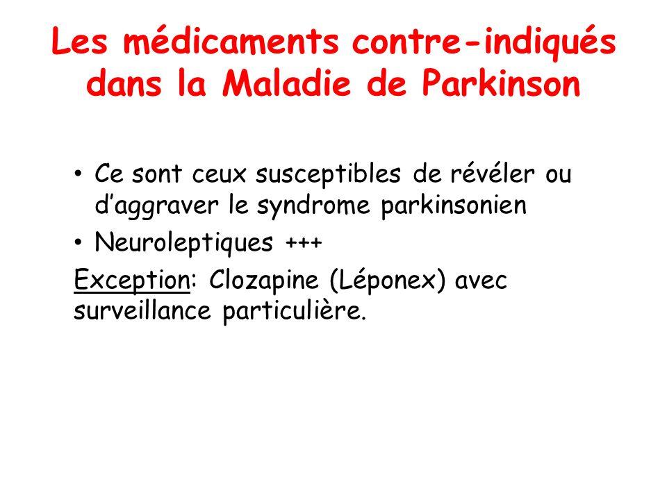 Les médicaments contre-indiqués dans la Maladie de Parkinson Ce sont ceux susceptibles de révéler ou daggraver le syndrome parkinsonien Neuroleptiques