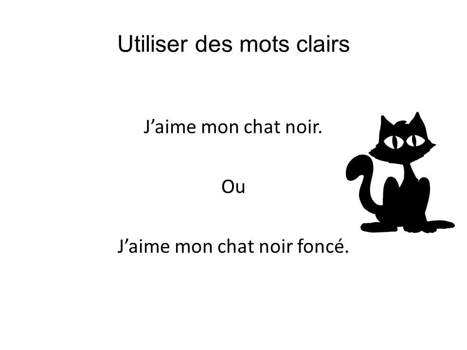 Utiliser des mots clairs Jaime mon chat noir. Ou Jaime mon chat noir foncé.