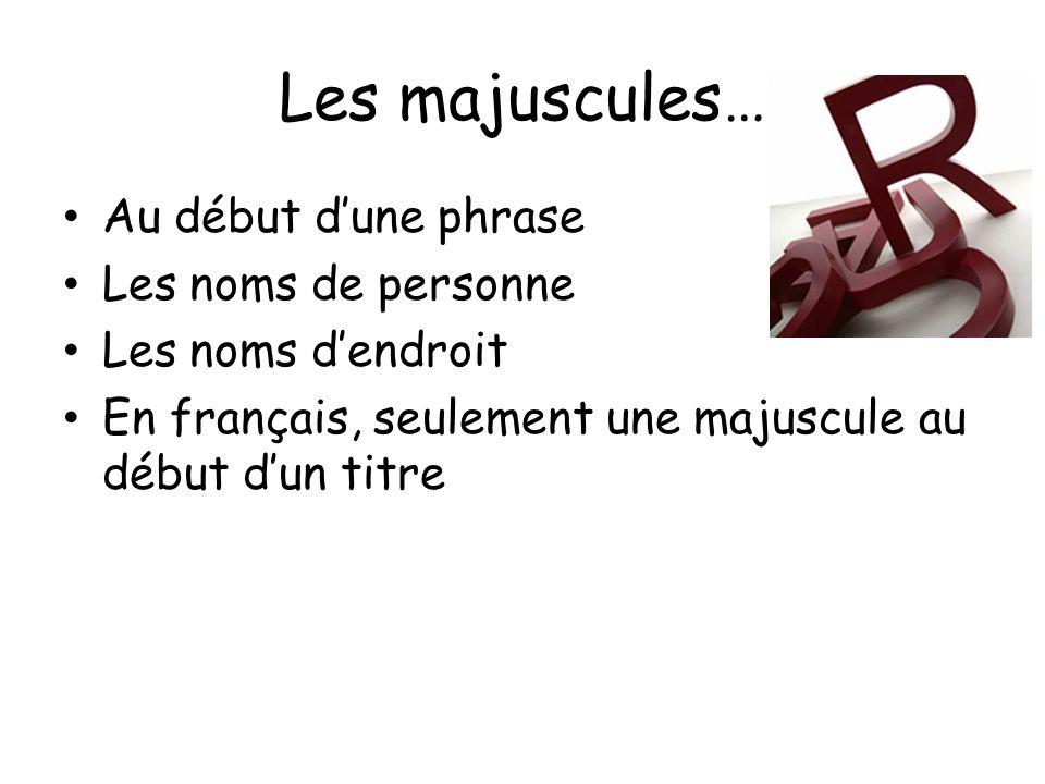 Les majuscules… Au début dune phrase Les noms de personne Les noms dendroit En français, seulement une majuscule au début dun titre